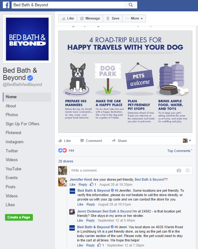 bed bath and beyond facebook